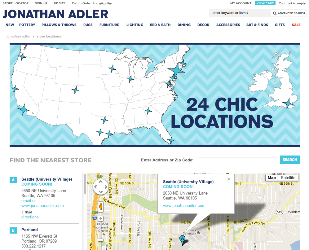 Screen grab from jonathanadler.com's location page (click to check it for yourself).