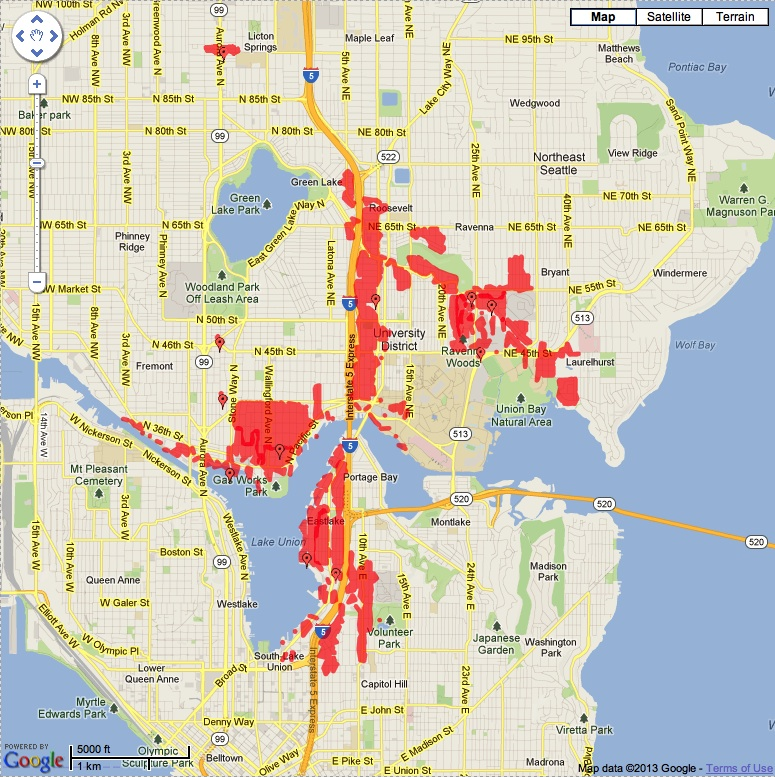 Screen grab of the Seattle City Lights outage page, taken around 7 PM. Service to Green Lake and Montlake had already been restored, but nearly 15,000 other customers were still affected.
