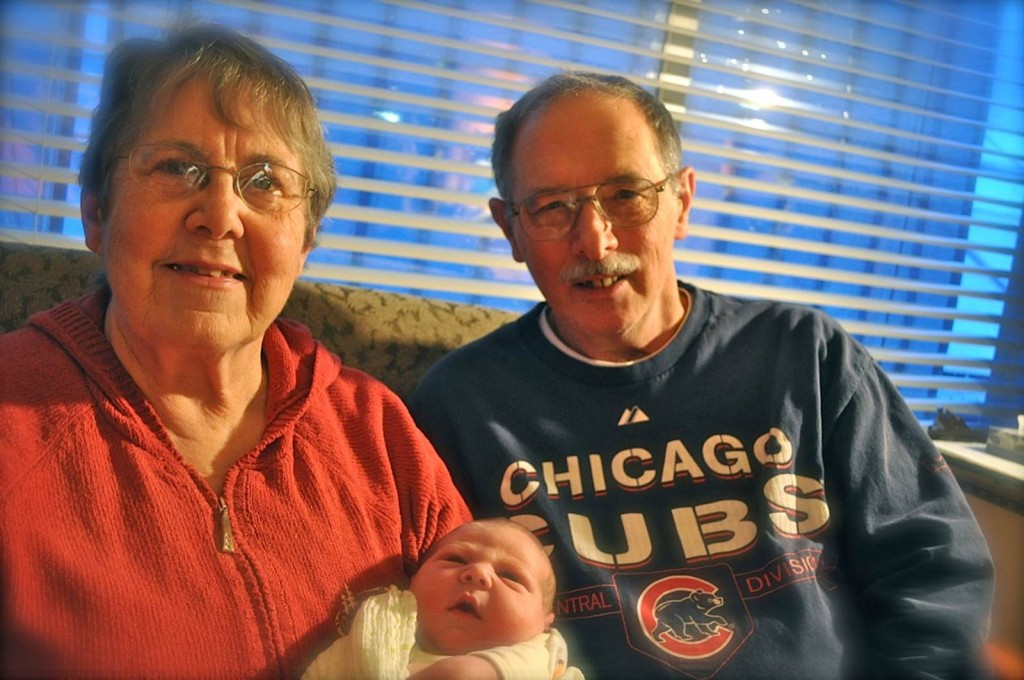 Judy and Dennis Schulte, with Baby Elias