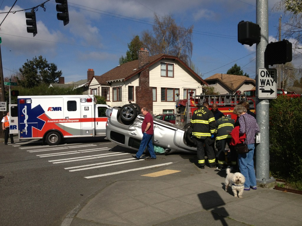 Rollover scene, approximately 30 minutes after the collision. Photo by Allan Waite, Roosevelt resident