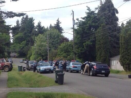Scene near of the arrest of one of the suspects (at 25th Ave NE near 127th St NE). Photo courtesy Lake City Live.
