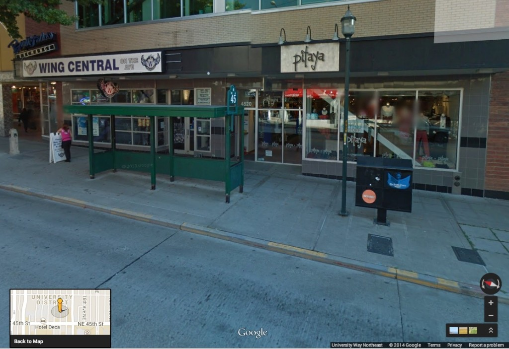 Google Street View of 4520 University Way NE and a few extra storefronts to the north.