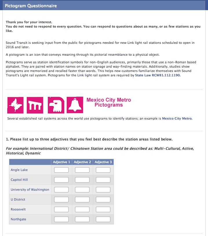 First section of the Sound Transit Pictogram Questionnaire (click to start the survey).