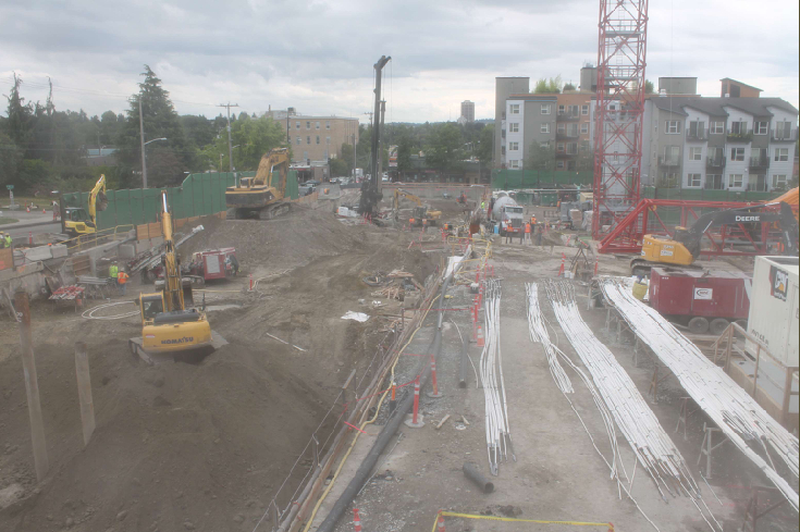 Roosevelt Station construction site at 3:30 PM on Friday, August 15, 2014. (Click to visit the current view.)