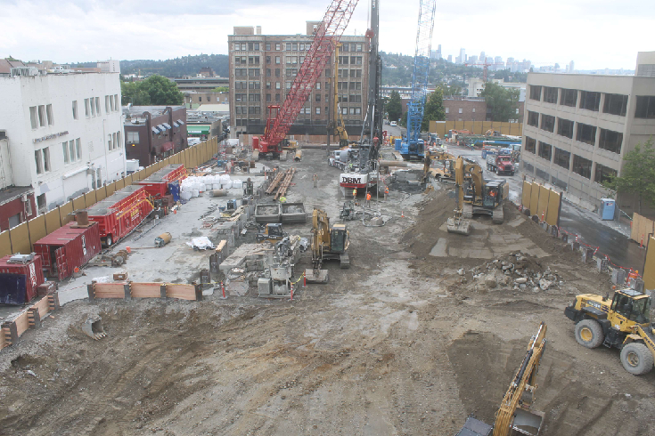 U District Station construction site at 3:30 PM on Friday, August 15, 2014. (Click to visit the current view.)