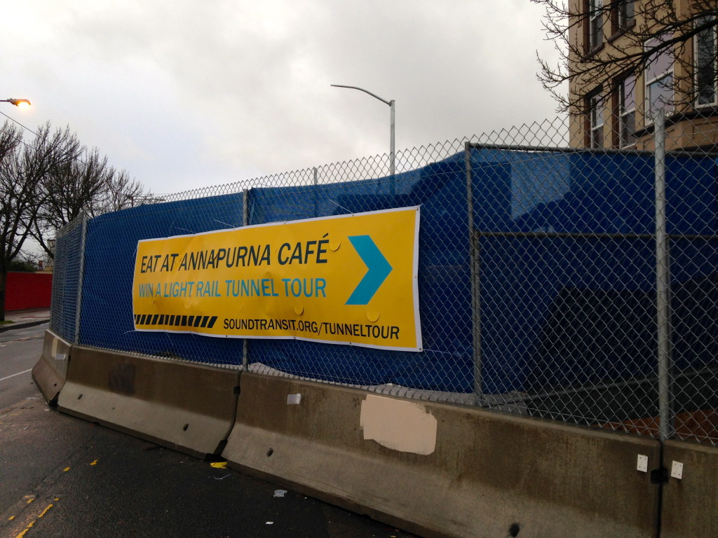 Banner near the Capitol Hill Light Rail Station construction site advertising the Sound Transit/Annapurna  contest in February 2014. (Photo courtesy Capitol Hill Seattle)